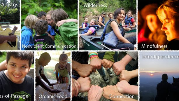 Mindfulness, Nonviolent Communication, Interdependence, Artistry, Organic Food, Wilderness, Connection